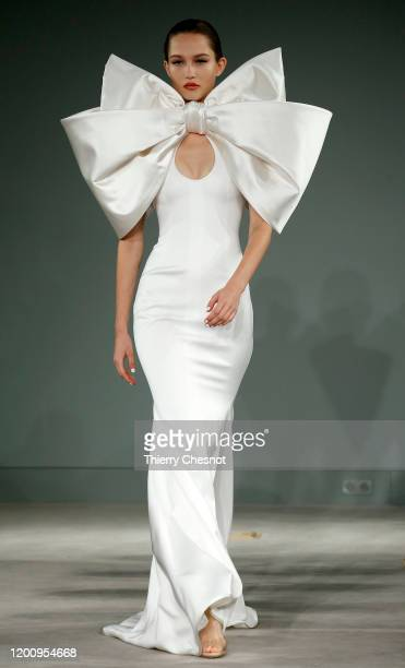 Model walks the runway during the Alexis Mabille Haute Couture Spring/Summer 2020 show as part of Paris Fashion Week on January 21, 2020 in Paris,...