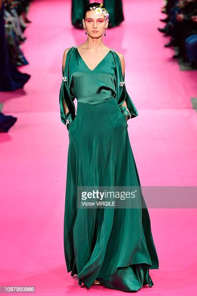 Model walks the runway during the Alexis Mabille Haute Couture Spring Summer 2019 fashion show as part of Paris Fashion Week on January 22, 2019 in...