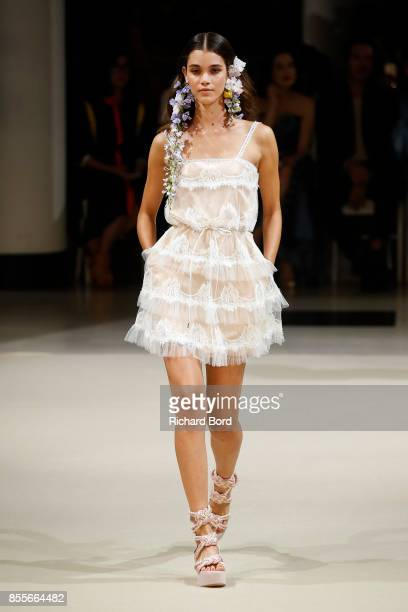 A model walks the runway during the Alexis Mabille show as part of Paris Fashion Week Womenswear Spring/Summer 2018 on September 29 2017 in Paris...