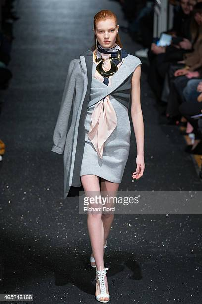 A model walks the runway during the Alexis Mabille show as part of the Paris Fashion Week Womenswear Fall/Winter 2015/2016 at Hotel Salomon de...
