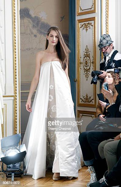 A model walks the runway during the Alexis Mabille Spring Summer 2016 show as part of Paris Fashion Week on January 25 2016 in Paris France
