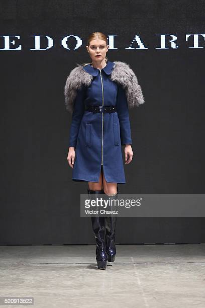 A model walks the runway during the Alfredo Martinez show at MercedesBenz Fashion Week Mexico Autumn/Winter 2016 at Auditorio BlackBerry on April 12...