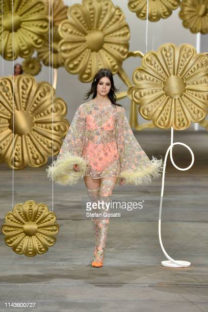 Model walks the runway during the Alice McCall show at Mercedes-Benz Fashion Week Resort 20 Collections at Carriageworks on May 14, 2019 in Sydney,...