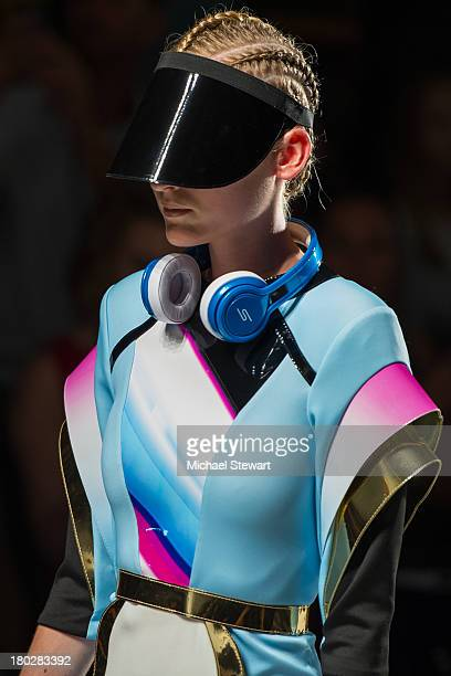 A model walks the runway during the Alon Livne show during Spring 2014 MercedesBenz Fashion Week at The Studio at Lincoln Center on September 10 2013...
