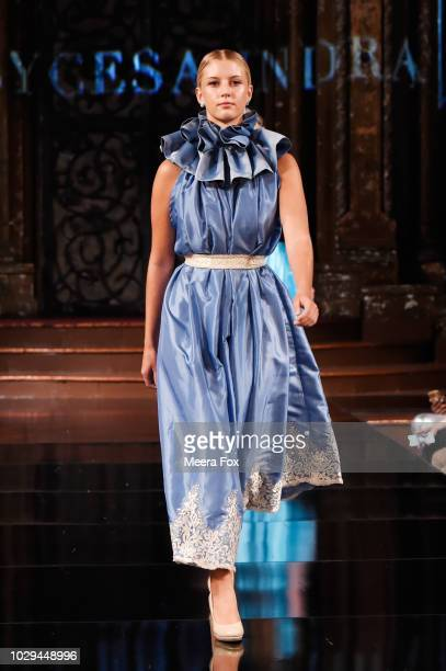 A model walks the runway during the ALYCESAUNDRAL show At New York Fashion Week Powered By Art Hearts Fashion at The Angel Orensanz Foundation on...