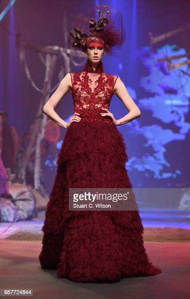 A model walks the runway during the Amato show at Fashion Forward March 2017 held at the Dubai Design District on March 25 2017 in Dubai United Arab...