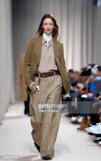 A model walks the runway during the Ami Alexandre Mattiussi Menswear Fall/Winter 20192020 show as part of Paris Fashion Week on January 17 2019 in...