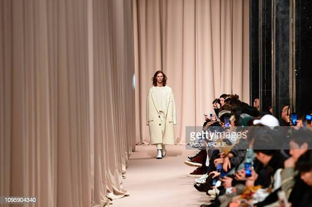 A model walks the runway during the Ami Alexandre Mattiussi Menswear Fall/Winter 20192020 fashion show as part of Paris Fashion Week on January 17...