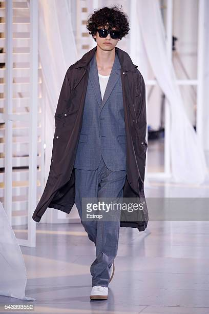 A model walks the runway during the Ami Alexandre Mattiussi Menswear Spring/Summer 2017 show as part of Paris Fashion Week on June 25 2016 in Paris...