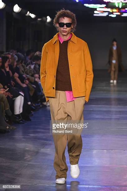 A model walks the runway during the Ami Alexandre Mattiussi Menswear Fall/Winter 20172018 show as part of Paris Fashion Week on January 21 2017 in...