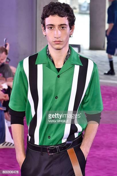 A model walks the runway during the Ami Alexandre Mattiussi Menswear Spring/Summer 2018 show as part of Paris Fashion Week on June 22 2017 in Paris...