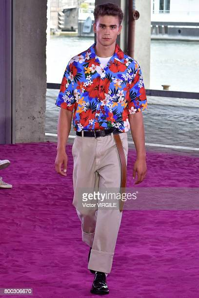 A model walks the runway during the Ami Alexandre Mattiussi Menswear Spring/Summer 2018 show as part of Paris Fashion Week on June 22 2017 in Paris...