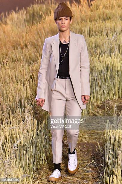 A model walks the runway during the AMI Alexandre Mattiussi Menswear Spring/Summer 2019 fashion show as part of Paris Fashion Week on June 21 2018 in...
