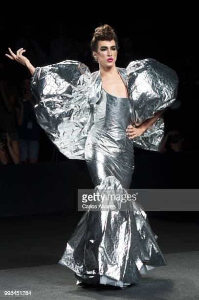 A model walks the runway during the Ana Locking show at Mercedes Benz Fashion Week Madrid Spring/Summer 2019 on July 10 2018 in Madrid Spain