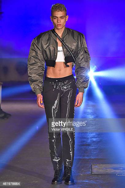 A model walks the runway during the Andrea Crews Menswear Fall/Winter 20152016 show as part of Paris Fashion Week on January 22 2015 in Paris France