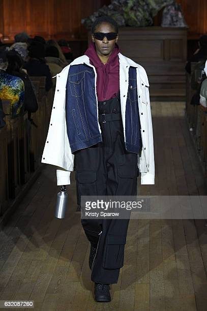 A model walks the runway during the Andrea Crews Menswear Fall/Winter 20172018 show as part of Paris Fashion Week on January 19 2017 in Paris France