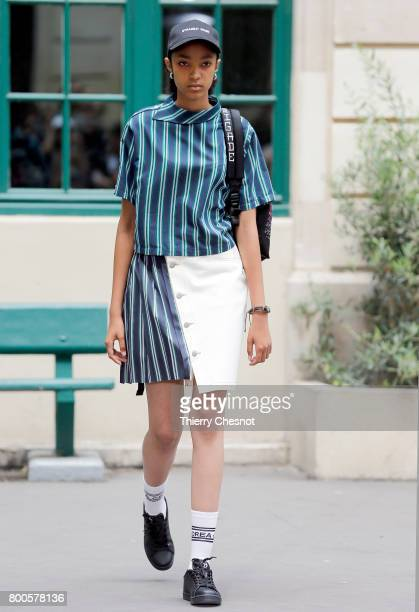 A model walks the runway during the Andrea Crews Menswear Spring/Summer 2018 show as part of Paris Fashion Week on June 24 2017 in Paris France