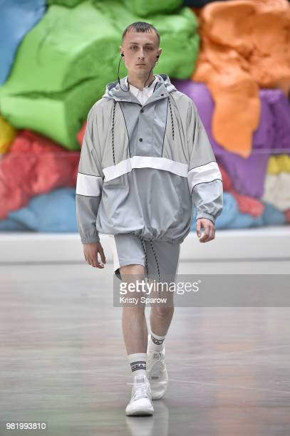 A model walks the runway during the Andrea Crews Menswear Spring/Summer 2019 show as part of Paris Fashion Week on June 23 2018 in Paris France