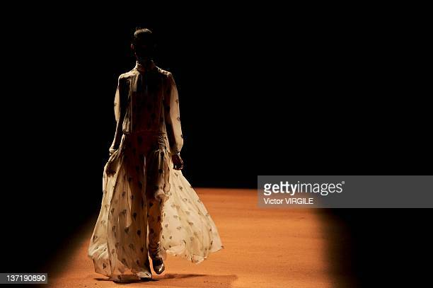 A model walks the runway during the Andrea Marques ready to wear fall winter show as part of the Rio Fashion Week Fall/Winter 2012 at Pier Maua on...