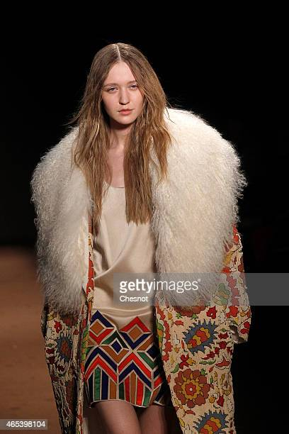 Model walks the runway during the Andrew GN show as part of the Paris Fashion Week Womenswear Fall/Winter 2015/2016 on March 6, 2015 in Paris, France.