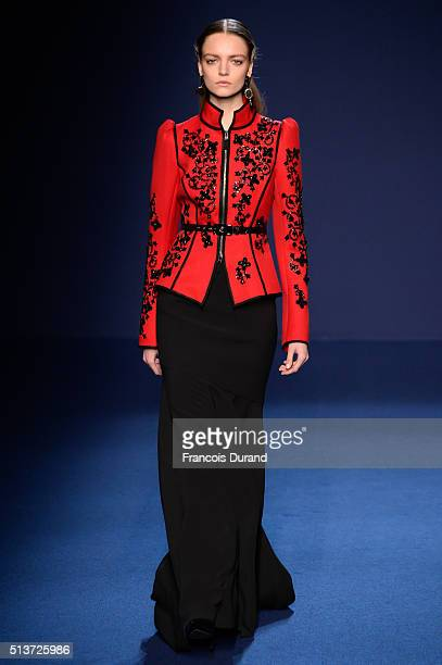 A model walks the runway during the Andrew GN show as part of the Paris Fashion Week Womenswear Fall/Winter 2016/2017 on March 4 2016 in Paris France