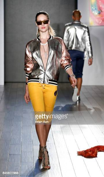 A model walks the runway during the Andy Hilfiger presents Artistix by Greg Polisseni fashion show on September 2017 during New York Fashion Week...