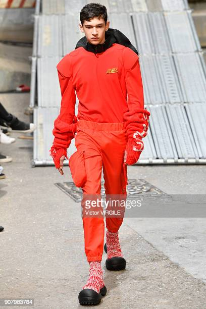 A model walks the runway during the Angus Chiang Menswear Fall/Winter 20182019 show as part of Paris Fashion Week on January 18 2018 in Paris France