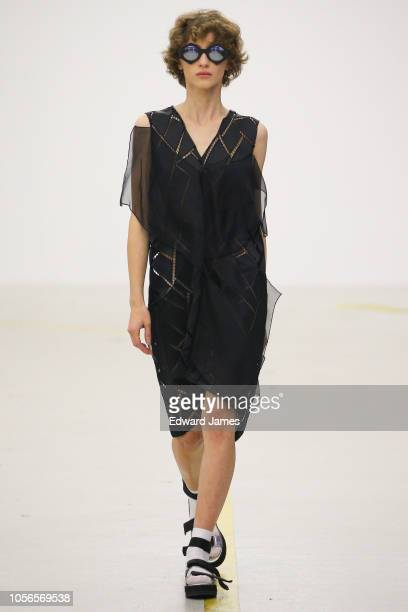 A model walks the runway during the Ani Datukishvili Spring/Summer 2019 Collection fashion show at MercedesBenz Fashion Week Tbilisi on November 2...