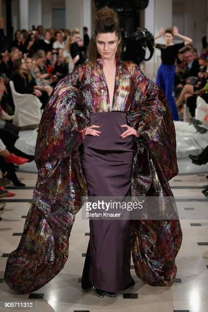 A model walks the runway during the Anja Gockel fashion show at Hotel Adlon on January 16 2018 in Berlin Germany