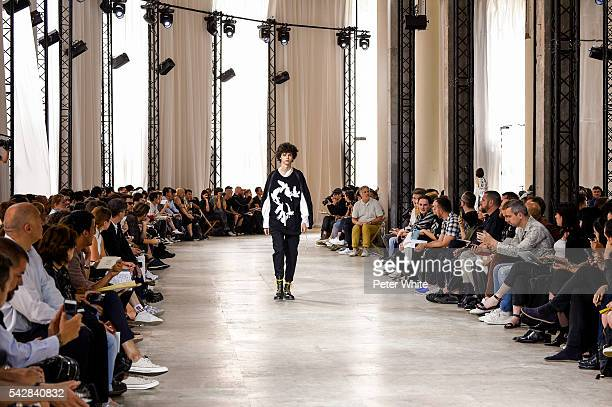 Model walks the runway during the Ann Demeulemeester Menswear Spring/Summer 2017 show as part of Paris Fashion Week on June 24, 2016 in Paris, France.