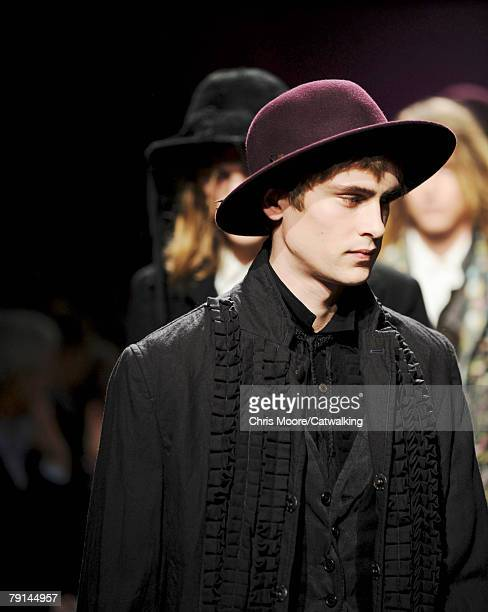 Model walks the runway during the Ann Demeulemeester Menswear fashion show part of Paris Fashion Week Fall/Winter 2008/2009 on the 19th of January...