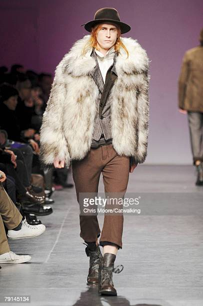 A model walks the runway during the Ann Demeulemeester Menswear fashion show part of Paris Fashion Week Fall/Winter 2008/2009 on the 19th of January...