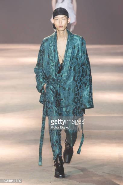A model walks the runway during the Ann Demeulemeester Menswear Fall/Winter 20192020 show as part of Paris Fashion Week on January 18 2019 in Paris...