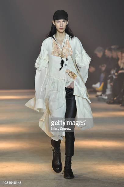 Model walks the runway during the Ann Demeulemeester Menswear Fall/Winter 2019-2020 show as part of Paris Fashion Week on January 18, 2019 in Paris,...