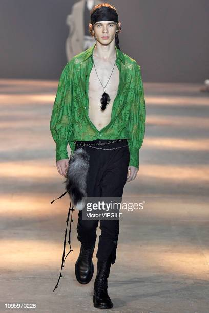 A model walks the runway during the Ann Demeulemeester Menswear Fall/Winter 20192020 fashion show as part of Paris Fashion Week on January 18 2019 in...