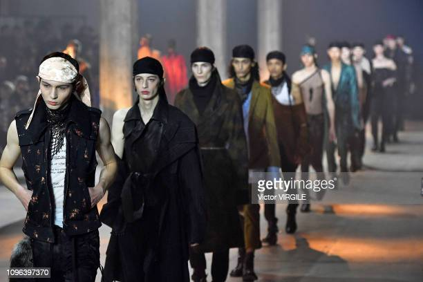 Model walks the runway during the Ann Demeulemeester Menswear Fall/Winter 2019-2020 fashion show as part of Paris Fashion Week on January 18, 2019 in...