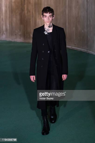 Model walks the runway during the Ann Demeulemeester Menswear Fall/Winter 2020-2021 show as part of Paris Fashion Week on January 17, 2020 in Paris,...