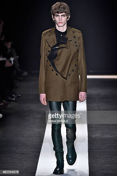 A model walks the runway during the Ann Demeulemeester Menswear Fall/Winter 20152016 show as part of Paris Fashion Week on January 23 2015 in Paris...