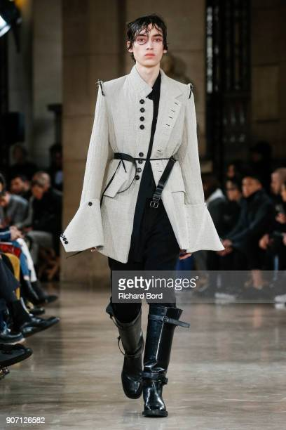 A model walks the runway during the Ann Demeulemeester Menswear Fall/Winter 20182019 show as part of Paris Fashion Week on January 19 2018 in Paris...