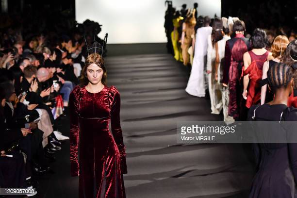 Model walks the runway during the Ann Demeulemeester Ready to Wear fashion show as part of the Paris Fashion Week Womenswear Fall/Winter 2020/2021 on...