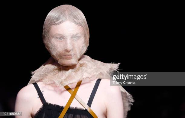 A model walks the runway during the Ann Demeulemeester show as part of the Paris Fashion Week Womenswear Spring/Summer 2019 on September 27 2018 in...
