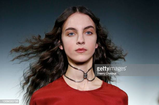 Model walks the runway during the Ann Demeulemeester show as part of the Paris Fashion Week Womenswear Fall/Winter 2020/2021 on February 27, 2020 in...
