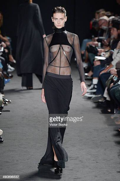 A model walks the runway during the Ann Demeulemeester show as part of the Paris Fashion Week Womenswear Spring/Summer 2016 on October 1 2015 in...