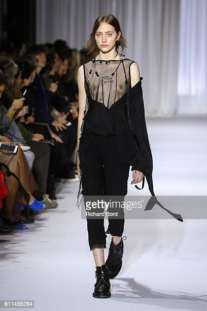 A model walks the runway during the Ann Demeulemeester show as part of the Paris Fashion Week Womenswear Spring/Summer 2017 on September 29 2016 in...