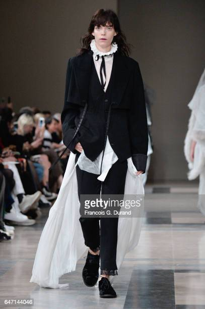 A model walks the runway during the Ann Demeulemeester show as part of the Paris Fashion Week Womenswear Fall/Winter 2017/2018 on March 2 2017 in...