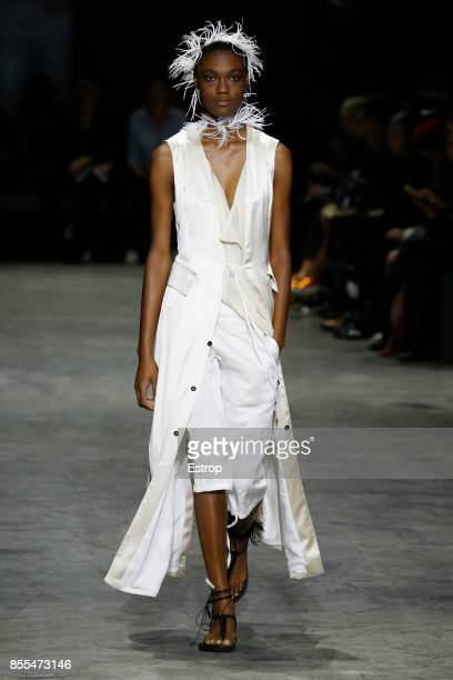A model walks the runway during the Ann Demeulemeester show as part of the Paris Fashion Week Womenswear Spring/Summer 2018 on September 28 2017 in...
