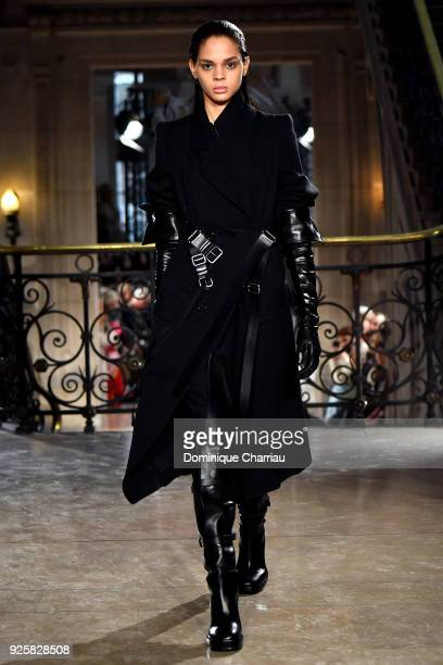 A model walks the runway during the Ann Demeulemeester show as part of the Paris Fashion Week Womenswear Fall/Winter 2018/2019 on March 1 2018 in...