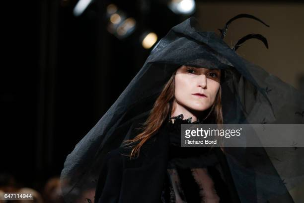 A model walks the runway during the Ann Demeulemeester show at Theatre National de Chaillot as part of the Paris Fashion Week Womenswear Fall/Winter...