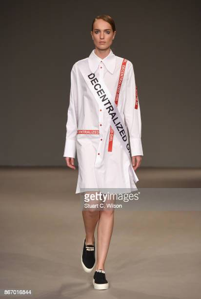 A model walks the runway during the Anna K International Guest show at Fashion Forward October 2017 held at the Dubai Design District on October 27...