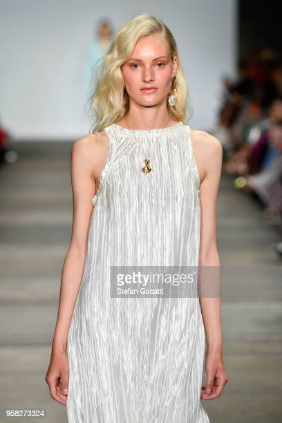 A model walks the runway during the Anna Quan show at MercedesBenz Fashion Week Resort 19 Collections at Carriageworks on May 14 2018 in Sydney...